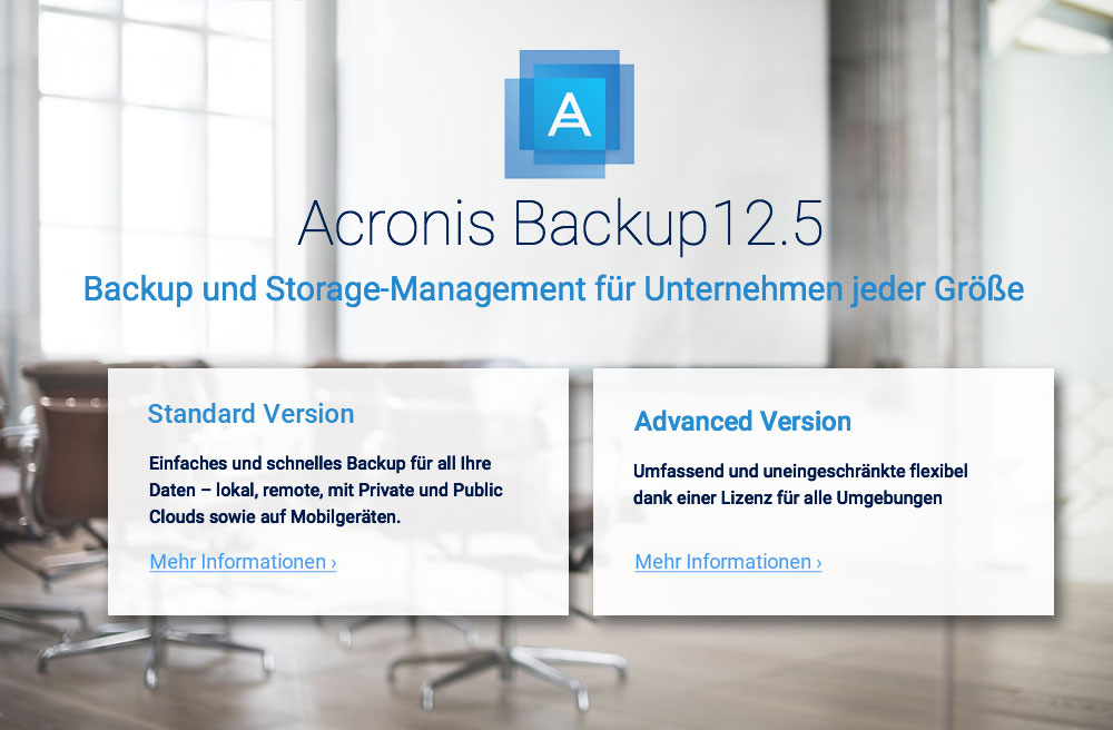 Acronis Backup 12.5 Standard und Advanced